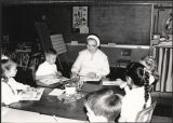 Sr. Mary Leona Miller teaching first grade teacher at Our Lady of Lourdes School, Vancouver, Washington, 1990