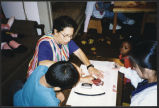 Making placemats for Thanksgiving, Providence Hospitality House, Seattle, Washington, 1994