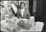 Sr. Lucille Dean, Provincial Superior, with model for MC-1 housing for the elderly, which became Vincent House, 1982