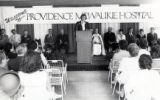 Provincial superior Sr. Barbara Schamber speaks at the dedication of Providence Milwaukie Hospital, Milwaukie, Oregon,...